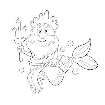 Znak zodiaku horoskop - wodnik. kreskówka posejdon. kolorowanka dla dzieci