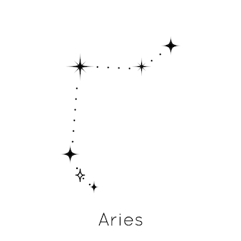 Znak zodiaku konstelacji baran horoskop astrologiczny symbol na białym tle wektor i