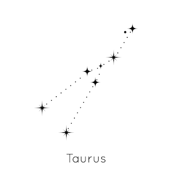 Znak zodiaku konstelacji znak astrologiczny horoskop byk symbol na białym tle vector