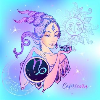 Znak zodiaku koziorożec piękna dziewczyna
