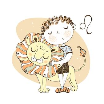 Znak zodiaku lew. ładny chłopak z lwiątkiem.