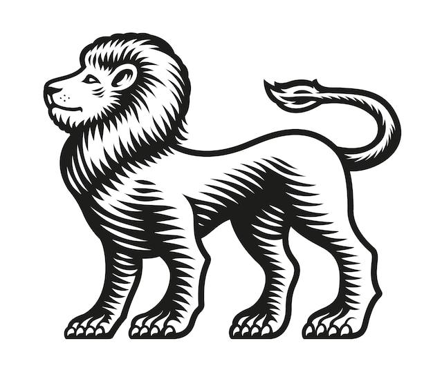 Znak zodiaku lew na białym tle