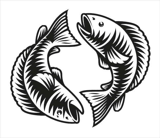 Znak zodiaku ryby na białym tle