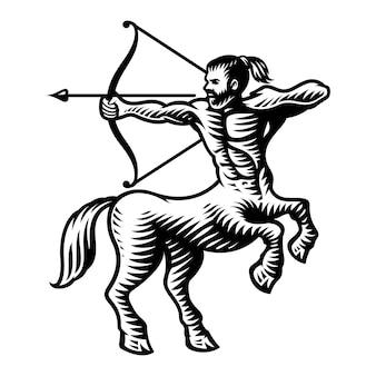 Znak zodiaku strzelec na białym tle