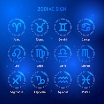Znak Zodiaku Ustawiony W Kręgach Premium Wektorów