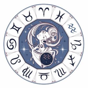 Znak zodiaku Wodnik piękna dziewczyna.
