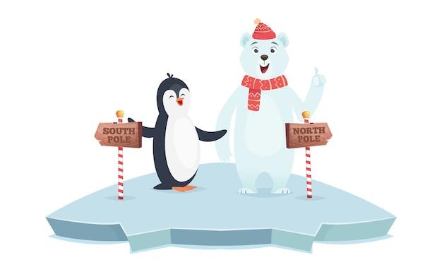 Znaki bieguna północnego i południowego. ilustracja wektorowa biegunów niedźwiedzia polarnego i pingwina. kreskówka zwierząt na lodzie z drewnianymi znakami drogowymi. informacje o wiadomościach dotyczących kierunku północnego i południowego