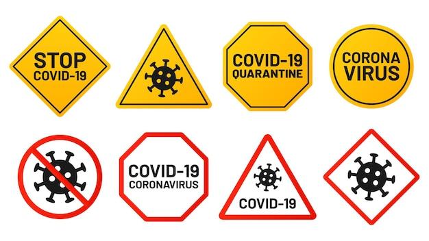 Znaki covid-19, wirus zatrzymujący, żółty lub czerwony symbol.