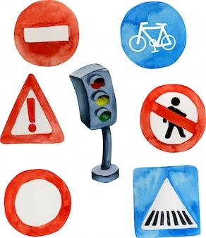 Znaki drogowe akwarela i kolekcja sygnalizacji świetlnej