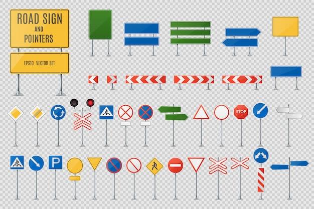 Znaki drogowe i wskaźniki realistyczny wektor zestaw