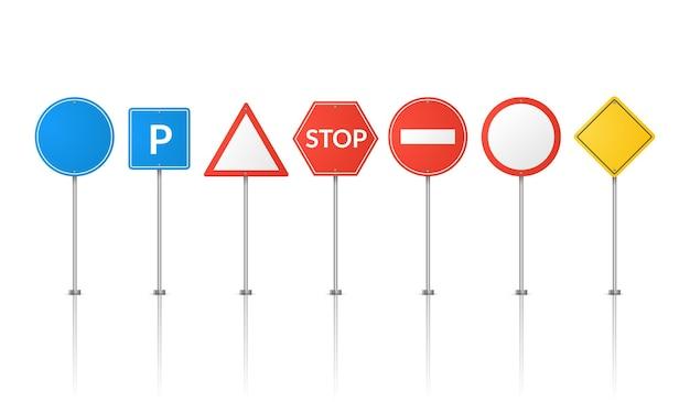Znaki drogowe na białym tle ilustracja