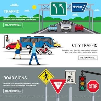 Znaki drogowe w ruchu miejskim banery
