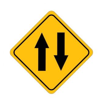 Znaki drogowe wymiana w dwie strony ulica