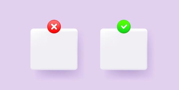 Znaki haczyków i krzyżyków znak wyboru i krzyżyk