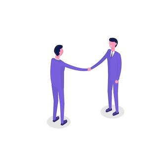 Znaki izometryczne ludzi biznesu, kolega. koncepcja pracy zespołowej i partnerstwa. izometryczna ilustracja na białym tle.