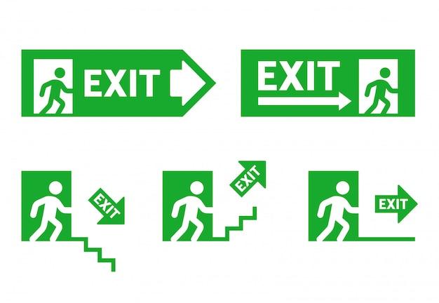 Znaki kierunku podczas ewakuacji. wyjście ewakuacyjne. biegnącego człowieka do drzwi. zestaw ilustracji