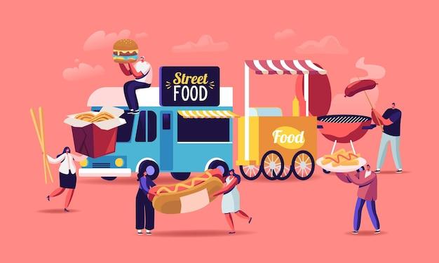 Znaki kupując koncepcja street food. maleńcy ludzie z ogromnym fastfoodowym burgerem, hot dogiem z musztardą, makaronem z woka jedzącym fast foody z grilla z food trucka i grillem. ilustracja wektorowa kreskówka ludzie