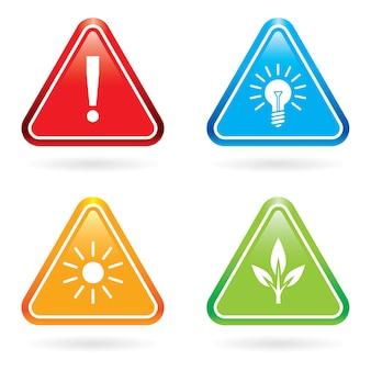 Znaki lub ikony trójkąta.