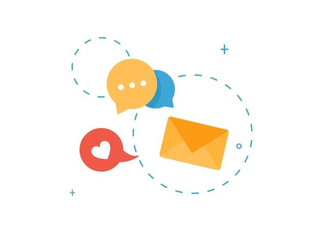 Znaki mediów społecznościowych z ikoną koperty i dymkiem w płaskiej konstrukcji