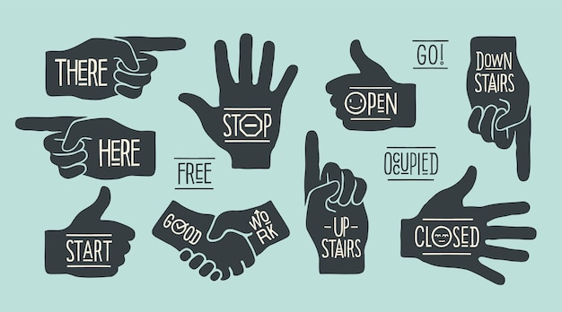 Znaki nawigacyjne ręczne. sylwetki dłoni o różnych kształtach