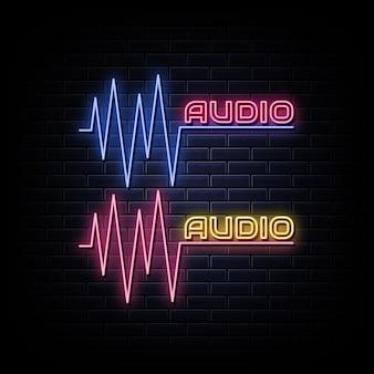 Znaki neonowe fala dźwiękowa zaprojektuj szablon neonu