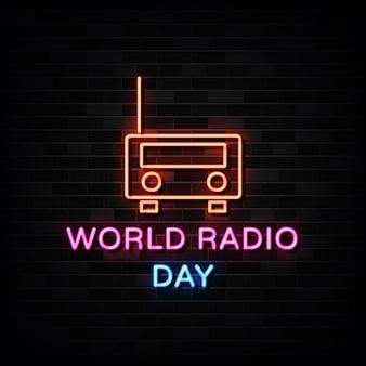 Znaki neonowe na światowy dzień radia