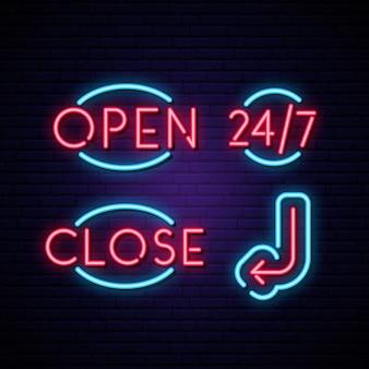 Znaki neonowe otwarte, zamknięte, 24/7 i strzałkowe.