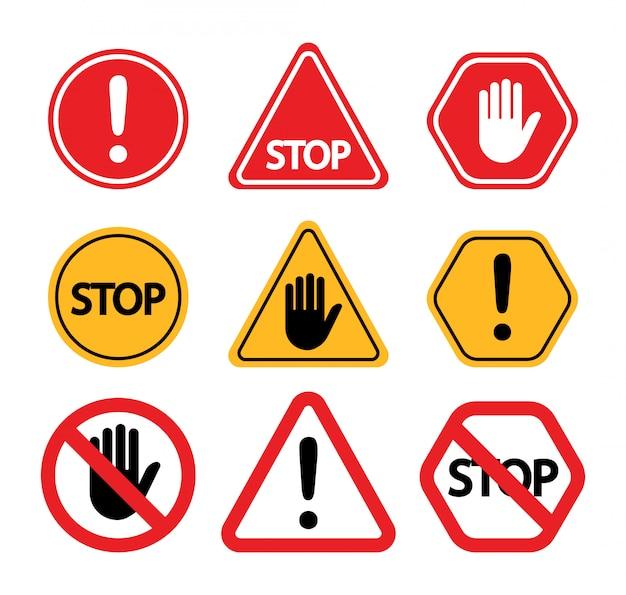 Znaki ostrzegawcze. nie dotykaj, uważaj, przestań.