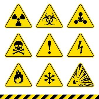 Znaki ostrzegawcze ustawiają ikony niebezpieczeństwa