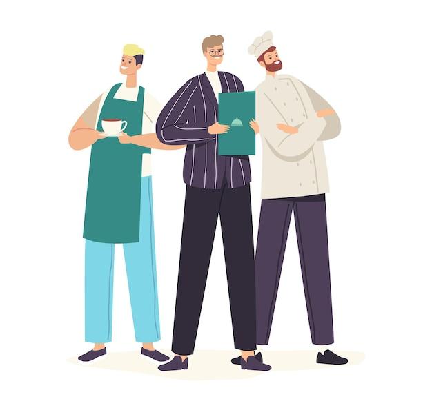 Znaki personelu restauracji w mundurze pozowanie. szef kuchni w czapce i fartuchu, administrator i kelner prezentujący menu, kawiarnia, pizzeria, zespół gościnności piekarni. ilustracja wektorowa kreskówka ludzie