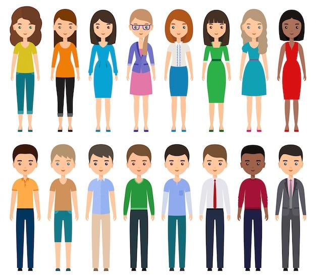Znaki płaskie ludzie. młodzi mężczyźni, kobiety w zwykłych i biznesowych ubraniach stojących razem. kobieta kreskówka, mężczyzna na białym tle.