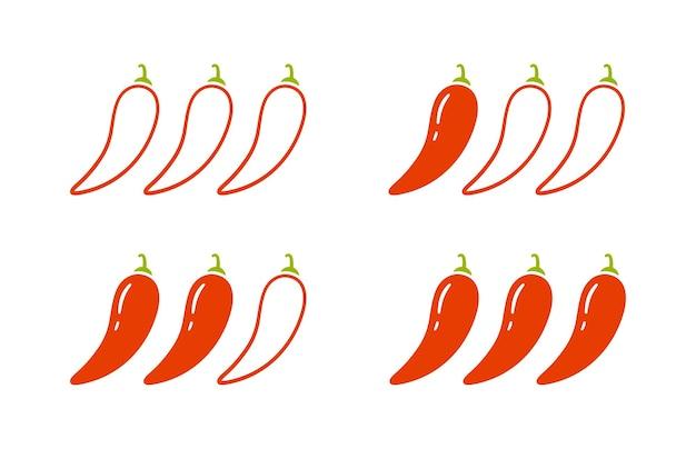 Znaki poziomu przypraw - łagodne, ostre i ostre. czerwona papryczka chili. zestaw ikon poziomu chili. ilustracja wektorowa na białym tle