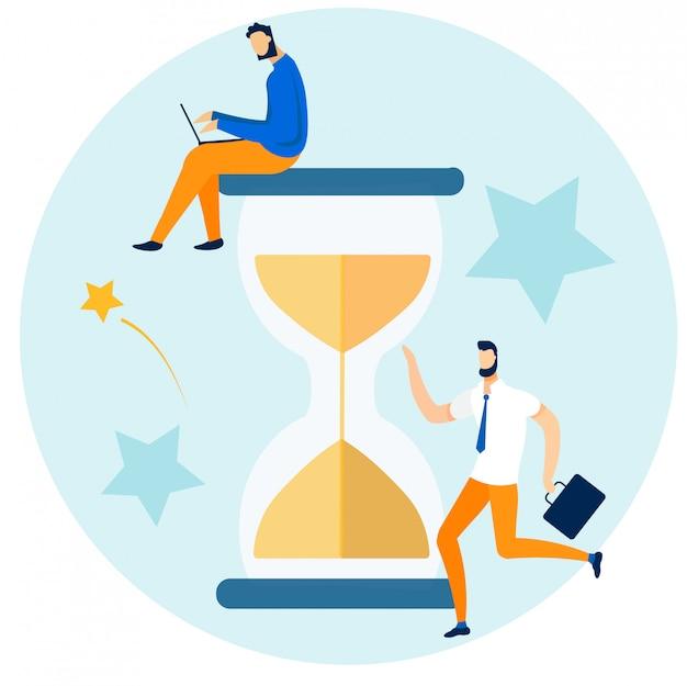 Znaki pracowników biurowych i zarządzanie czasem