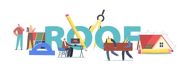 Znaki projekt dachu dla koncepcji domku. projektant graficzny inżynieria 3d model dachu na komputerze dla klienta, pracownicy instalują ulotkę plakatową. ilustracja wektorowa kreskówka ludzie