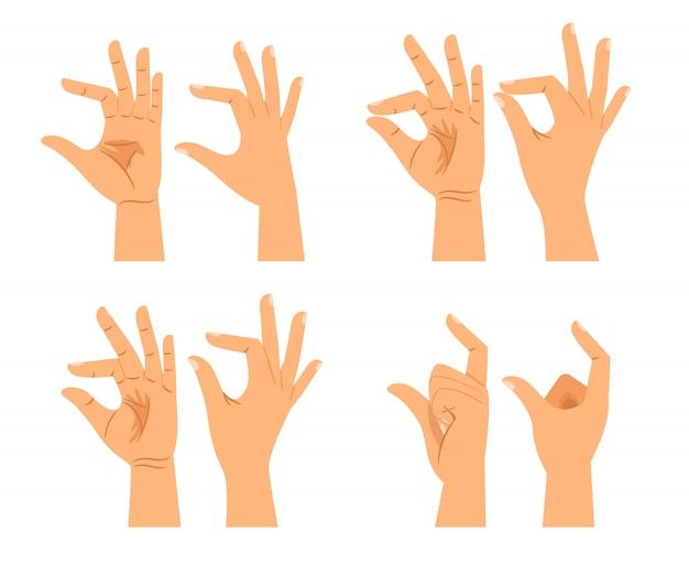 Znaki rozmiaru dłoni lub gesty grubości rąk izolowane