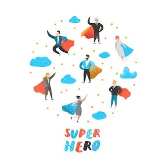 Znaki superbohaterów ludzi biznesu