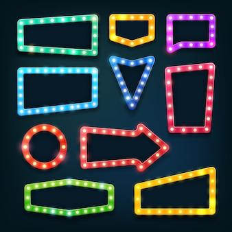 Znaki świetlne kina w stylu vintage. vegas kasyno puste ramki z żarówkami ustawione