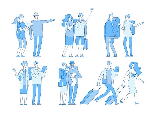 Znaki turystyczne ludzie z walizkami torby wakacje. europejska rodzina podróży w letnie wakacje podróży para kreskówka zestaw
