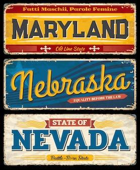 Znaki vintage usa maryland, nebraska i nevada