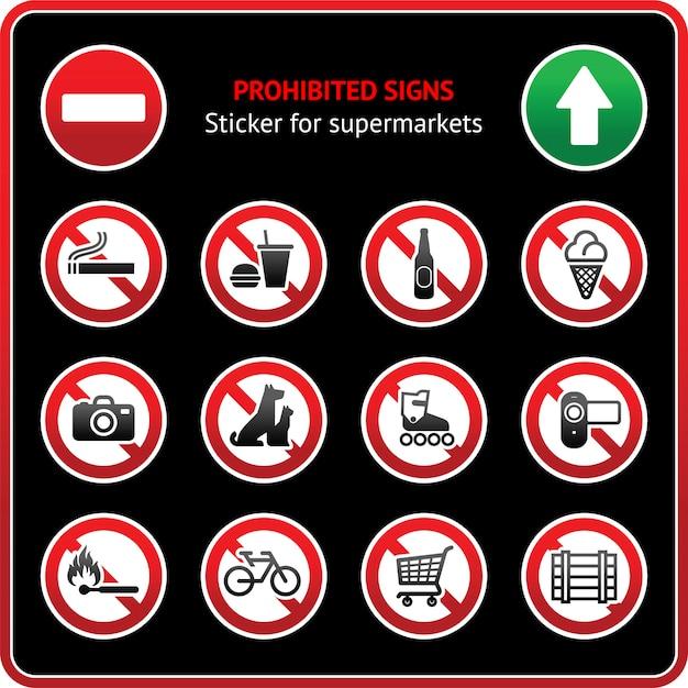 Znaki zabronione. przyklejona etykieta dla supermarketów