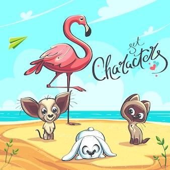 Znaki zestaw ilustracji wektorowych flamingo szczeniak kotek na brzegu morza