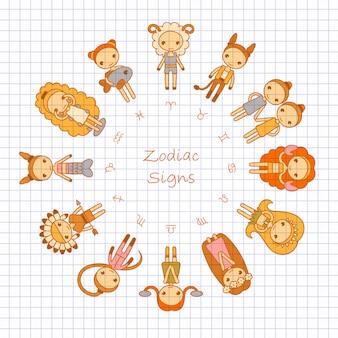 Znaki zodiaku baran, byk, bliźnięta, rak, lew, panna, waga, skorpion, strzelec, koziorożec, wodnik, ryby