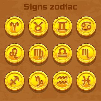 Znaki zodiaku na starym złotym kamieniu