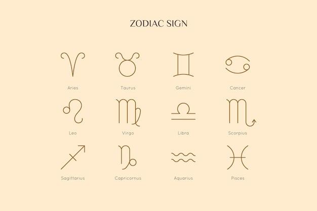 Znaki zodiaku w minimalistycznym stylu liniowym. wektor zbiór symboli horoskopu - baran, byk, bliźnięta, rak, lew, panna, waga, skorpion, strzelec, koziorożec, wodnik, ryby