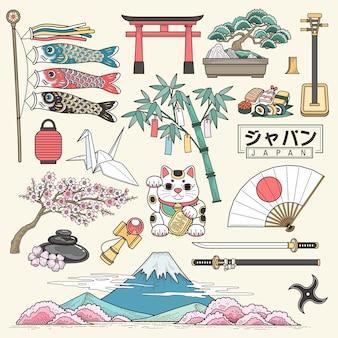 Znakomita kolekcja japońskich elementów turystycznych w stylu linii, nazwa kraju w japonii w japońskich słowach