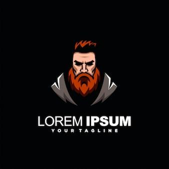 Znakomity brodaty mężczyzna logo