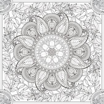 Znakomity projekt tła mandali z elementami kwiatowymi