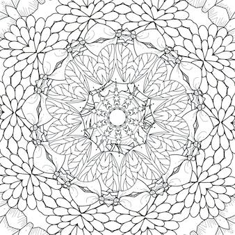 Znakomity wzór mandali w czerni i bieli