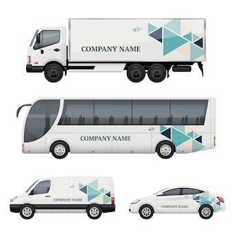 Znakowanie pojazdów. transport reklamujący autobus ciężarówka van samochód realistyczny makieta