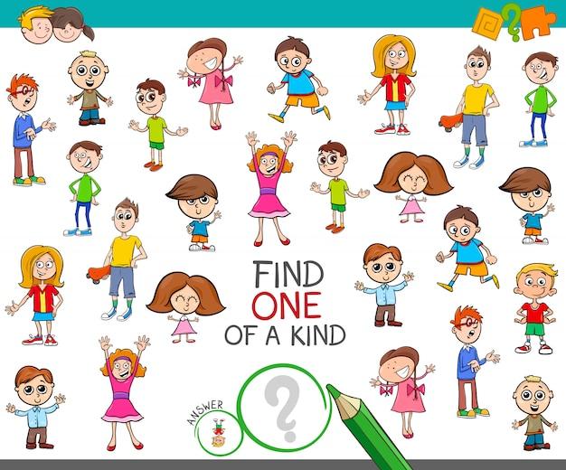 Znaleźć jedyną w swoim rodzaju grę z dzieciakami chłopcami i dziewczętami